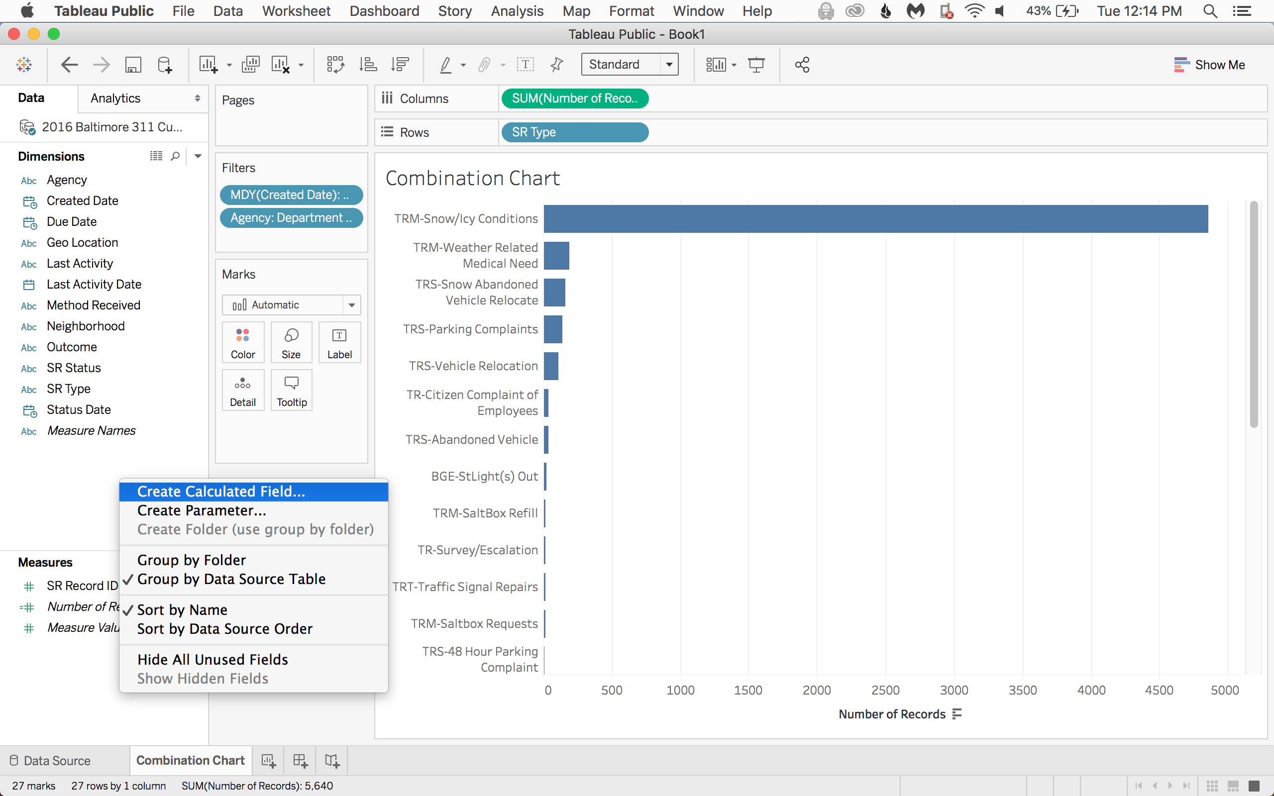 Now for the dots! Right click in a blank section of the data pane and select Create Calculated Field...