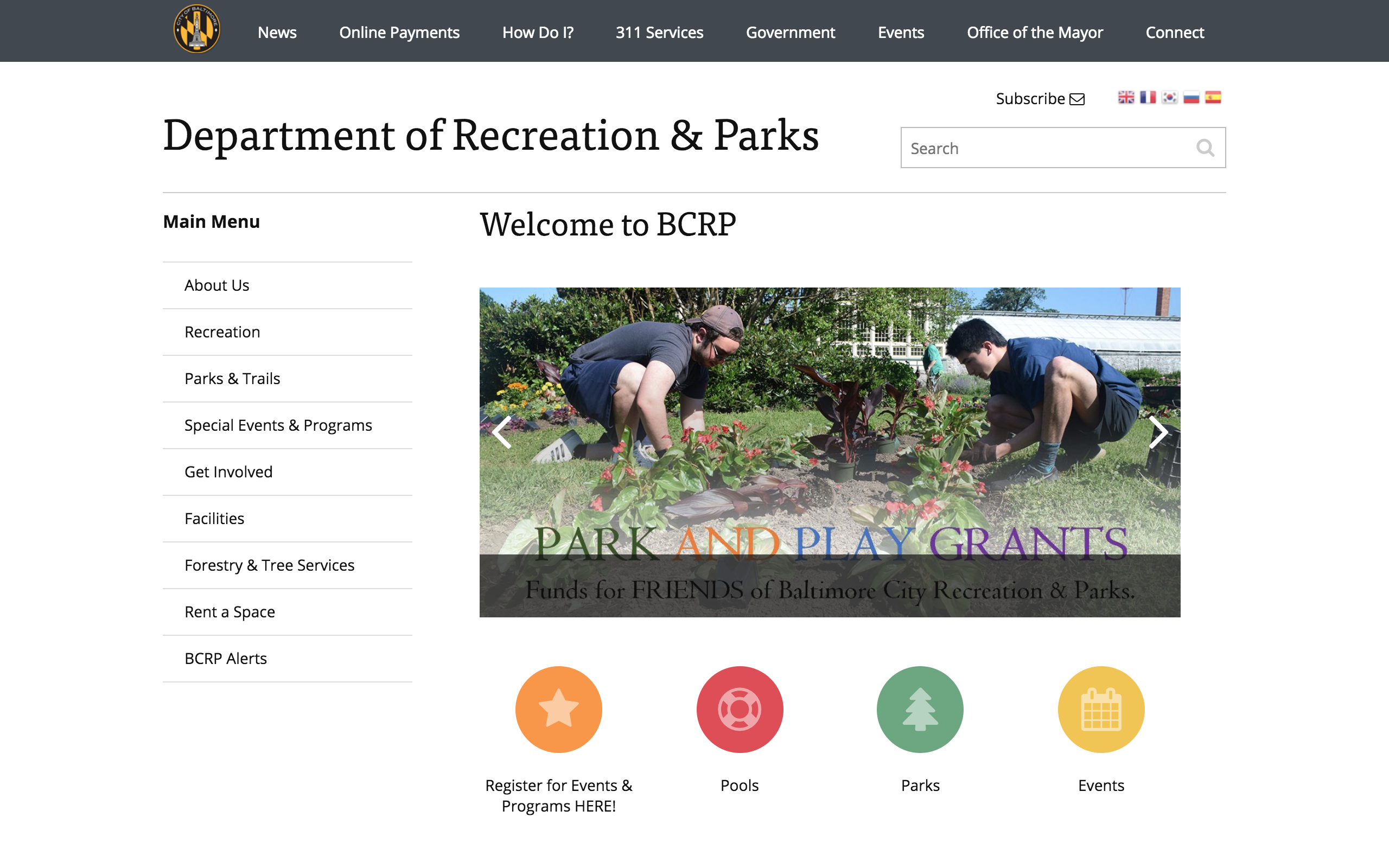 The Department of Recreation and Parks' website will appear.