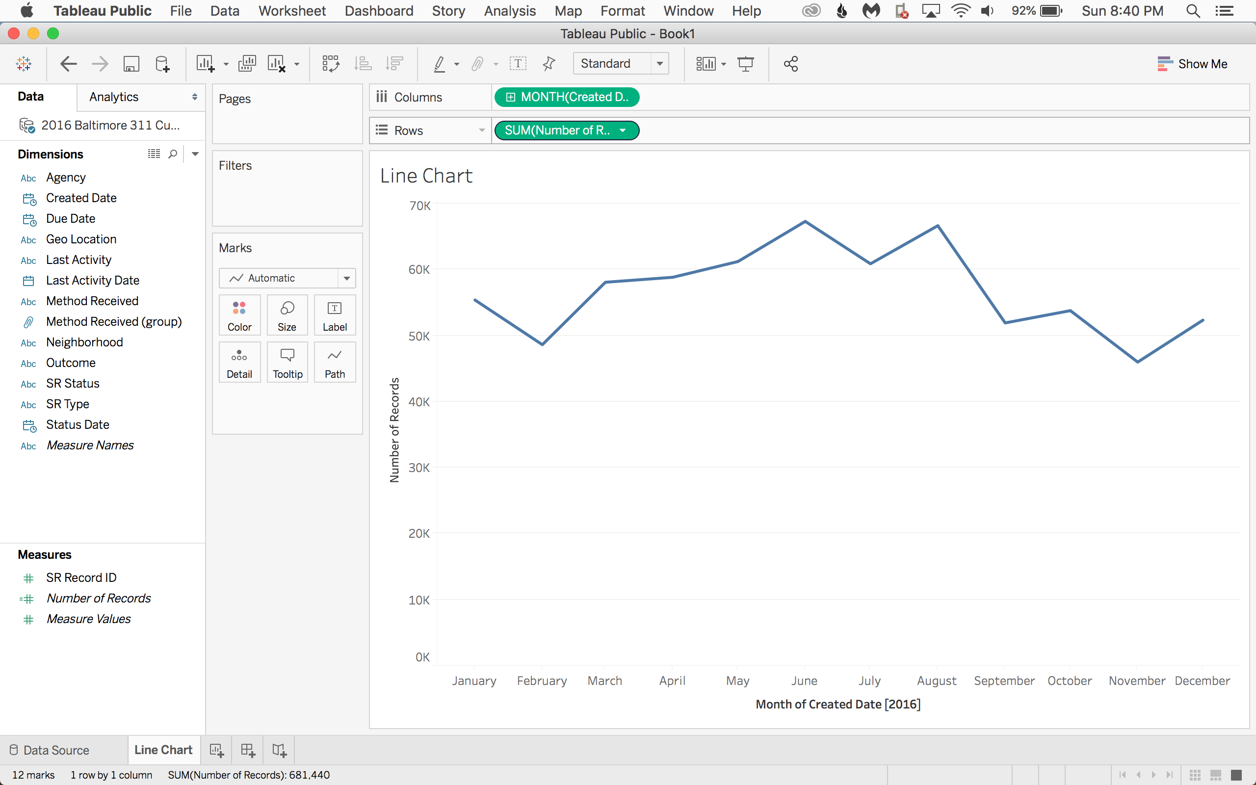 Now take Number of Records to rows. Tableau will default to a line.