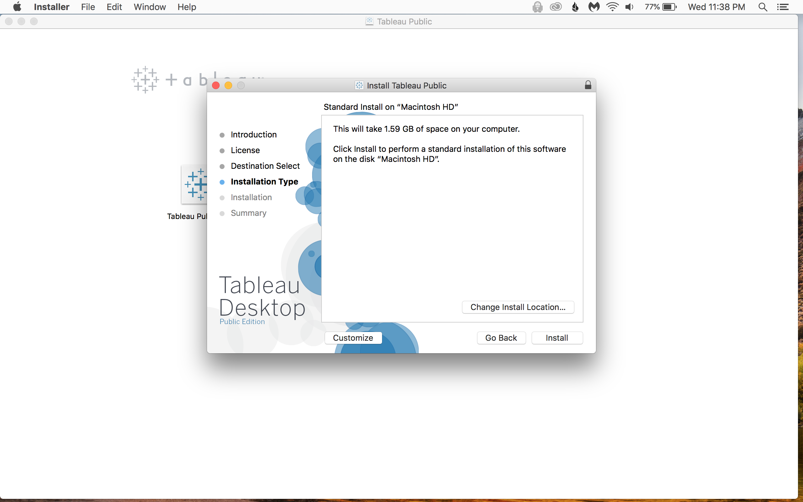 When the download is finished, double click the Tableau Public icon and walk through each step of the installation.